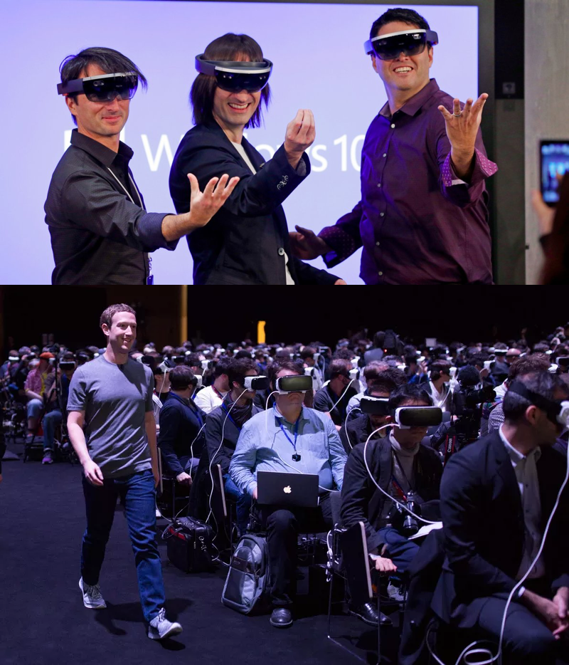 Men and women sitting with a VR headset, Mark Zuckerberg marching among them.